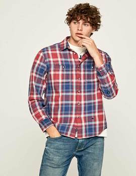 Thumb camisa pepe jeans stanley roja para hombre 3